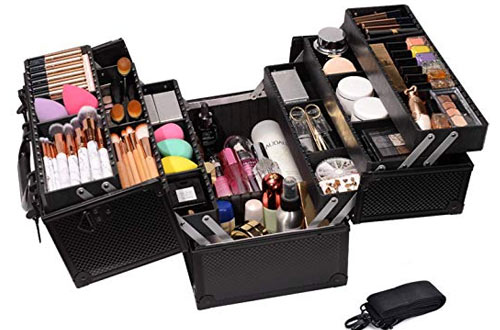 Professional Adjustable Makeup Train Case -  Cosmetic Storage Organizer Box with Lock