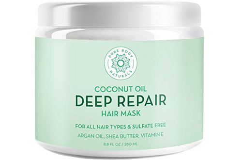 Pure Body Naturals Coconut Oil Hair Mask for Dry Damaged and Color Treated Hair