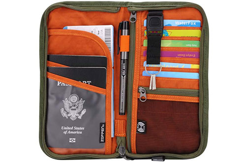 Zoppen RFID Travel Passport Wallet and Documents Organizer Case