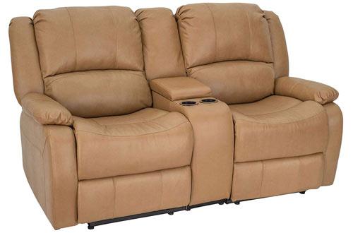 RecPro CharlesDouble Recliner RV Sofa & Console - Wall Hugger Recliner