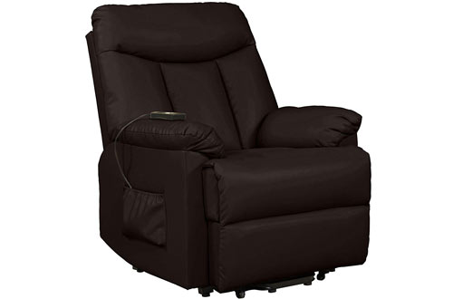 Domesis Renu Brown Leather Wall Hugger Power Lift Chair Recliner