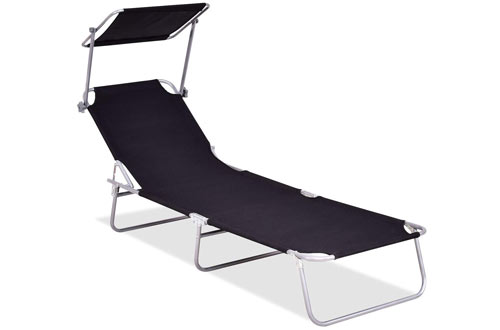 Giantexfoldable and Adjustable RecliningLounge Chair withSun Shade