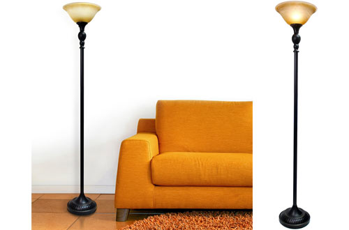 Elegant Designs LF2001-RBZ Torchiere Floor Lamps with Glass Shade