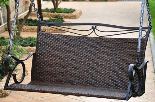 International Caravan Lisbon Loveseat Porch Swing in Antique Brown