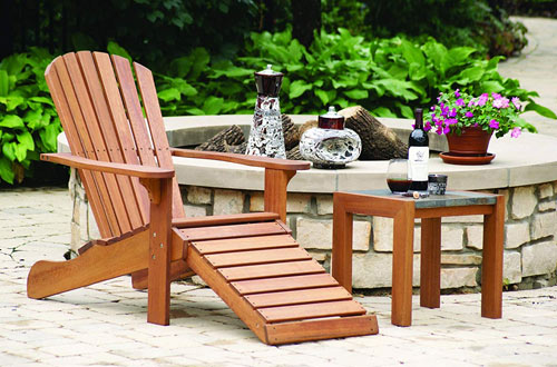 Outdoor Interiors Eucalyptus Wood Adirondack Chairs and Built-In Ottoman