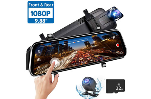 Directtyteam Full HD Mirror Dash Cam Backup Camera for Car