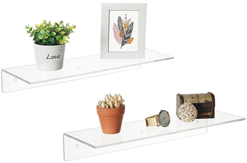 "MyGift 17"" Clear Acrylic Wall Mounted Floating Shelves - Display Racks"