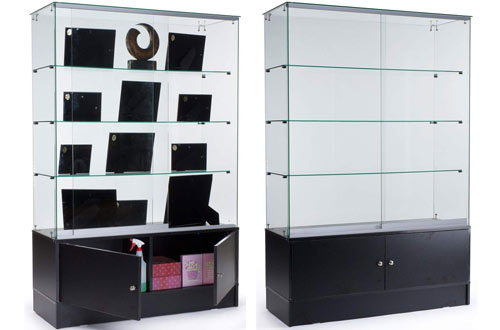 "Displays2go 48"" 3-Shelf Glass Display Cabinets with Storage Base & Sliding Door"
