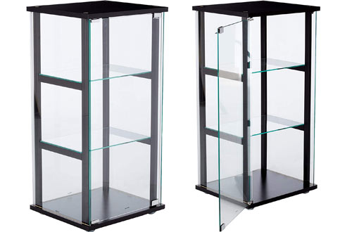 Coaster Home Furnishings 3-Shelf Black and Clear Glass Curio Cabinet