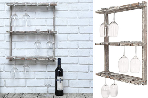 MyGift Distressed Barnwood Brown Wall Mount Wine Glass Rack