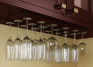 Wallniture Napa Stemware Hanging Wine Glass Hanger Under Cabinet