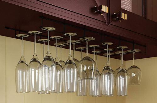Wallniture Napa Stemware Hanging Wine Glass Hanger Under Cabinet