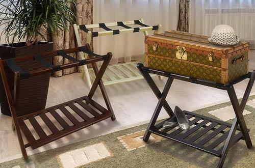 Casual Home Wood Luggage Racks with Shelf