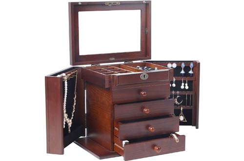 Caffny Large Wooden Jewelry Boxes with Built-in mirror and lock