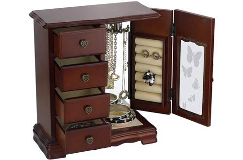 RR ROUND RICH DESIGN Solid Wooden Jewelry Organizer Box