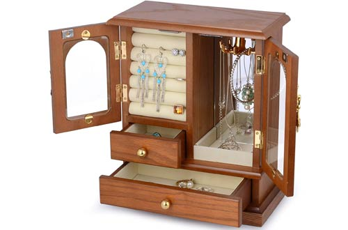 Kendal WJC02AK Real Natural Hardwood Jewelry Box Organizer