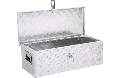 Yaheetech Heavy Duty Aluminum Tool Box with Lock Silver