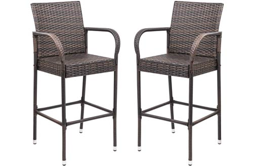 Homall Indoor/Outdoor Patio Furniture Wicker Barstools
