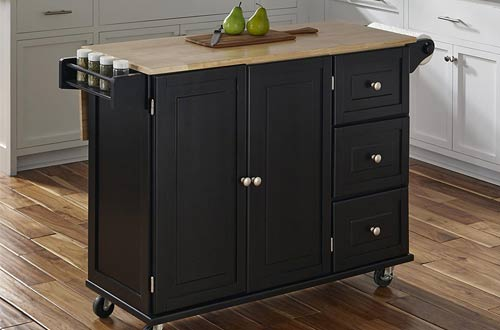 Rolling Kitchen Cart with Wood Top