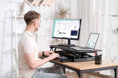 FEZIBO Adjustable Standing Desk Converters - Ergonomic Tabletop Workstation Riser